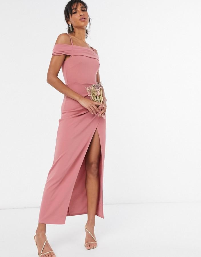 Little Mistress cold-shoulder bridesmaid dress with side split in rose pink