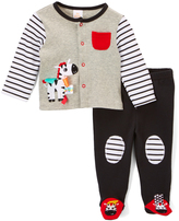 Taggies Black Zebra Cardigan & Footie Pants - Infant