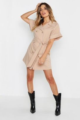 boohoo Oversized Button Front Shirt Dress