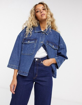 Selected denim jacket in dark wash
