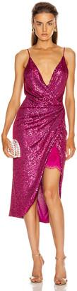Jonathan Simkhai Sequin Cami Wrap Dress in Magenta | FWRD
