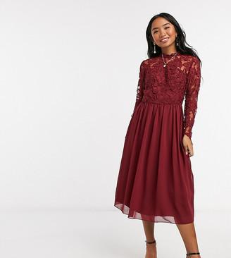 Chi Chi London lace long sleeve midi dress in burgundy