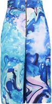 Matthew Williamson Marble-effect silk-satin culottes