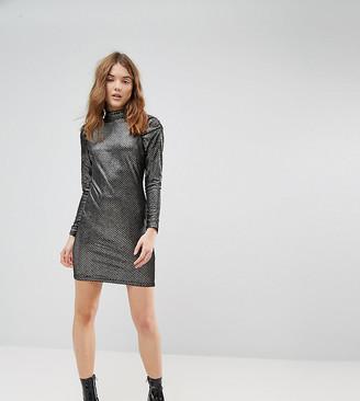 New Look Metallic Velvet Puff Sleeve Bodycon Dress-Black