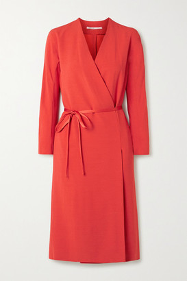 Agnona Crepe Wrap Dress - Red