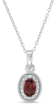 Zales Oval Garnet and Diamond Accent Frame Pendant in Sterling Silver