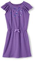 Lands' End Little Girls Flutter Sleeve Novelty Knit Dress-Fresh Lavender Sequin Dot