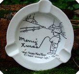 Staffordshire C1940S Comic Risque Hand Painted Ashtray Merry Xmas