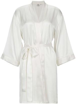Not Just Pajama Classic Women Silk Wedding Robe - White
