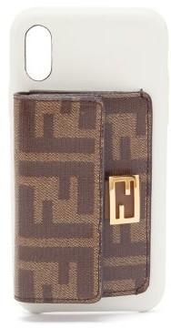 Fendi Baguette Ff-wallet Iphone X Case - Womens - White Multi