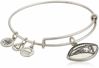 "Alex and Ani NFL"" New England Patriots Football Expandable Wire Rafaelian Silver-Tone Bangle Bracelet 7.5"""
