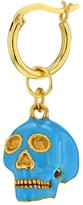 True Rocks Turquoise Enamel & 18 Carat Gold Plated Skull Earring On Gold Hoop
