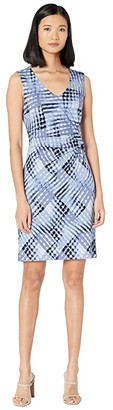 Nic+Zoe Petite Crossover Twist Dress (Blue Multi) Women's Clothing