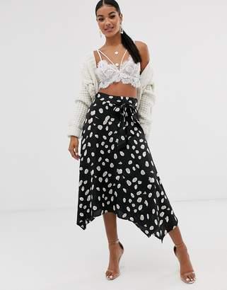 NA-KD Na Kd dot print tie-waist satin midi skirt in black