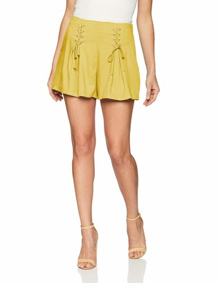 J.o.a. Women's HIGH Waisted LACE UP Front Pleated Shorts