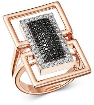 Bloomingdale's Black & White Diamond Geometric Ring in 14K Rose Gold - 100% Exclusive