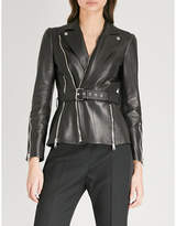 Alexander McQueen Belted leather biker jacket