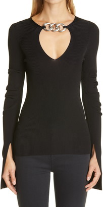 Alexander Wang Chain V-Neck Rib Sweater