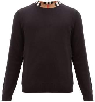 Burberry Noland House Check Collar Cashmere Sweater - Mens - Black