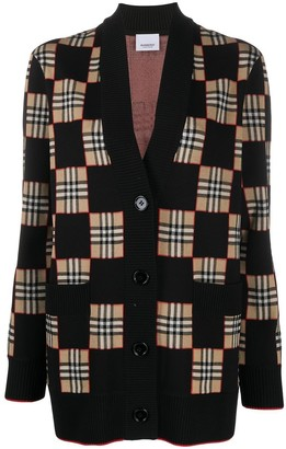 Burberry Oversized Chequer Cardigan