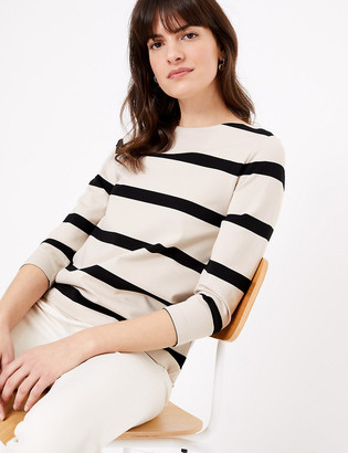 Marks and Spencer Ponte Striped Straight Fit Long Sleeve Top