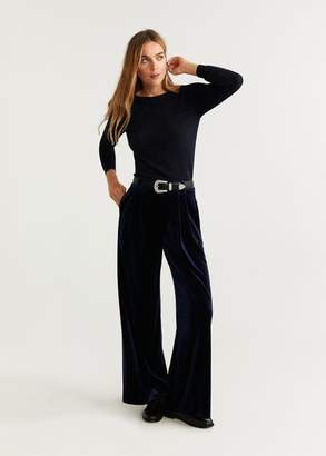 MANGO Velvet pants navy - 2 - Women