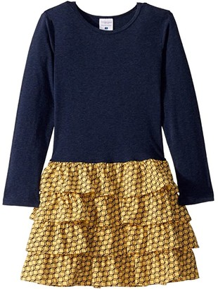 Toobydoo Ruffle Dress (Toddler/Little Kids/Big Kids) (Navy/Yellow Geometric) Girl's Dress