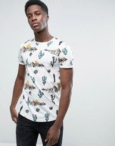 Esprit Crew Neck T-Shirt With Cactus Print