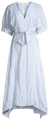 Rebecca Taylor Short-Sleeve Tie-Waist Striped Dress