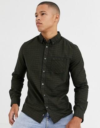 Burton Menswear long sleeve shirt in green check