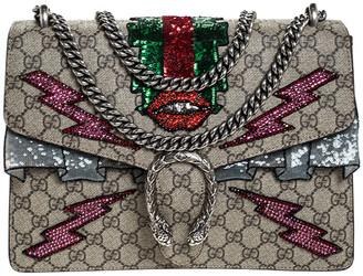 Gucci Beige GG Supreme Canvas Medium Sequin/Crystal Embellished Dionysus Shoulder Bag