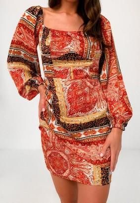 Missguided Red Paisley Print Satin Wrap Mini Dress