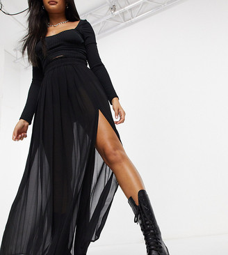 Collusion sheer pleated maxi skirt with slit in black