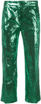 No.21 sequinned cropped trousers - women - Silk/Polyester - 40