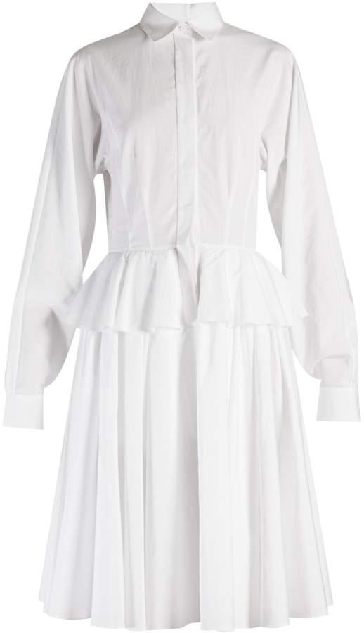 Givenchy Point-collar fluted-peplum cotton dress