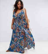 Asos Woven Wrap Maxi Beach Dress in Oversized Bright Tapestry
