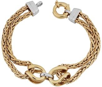 Fremada 14k Two-tone Gold Double Wheat Chain Bracelet
