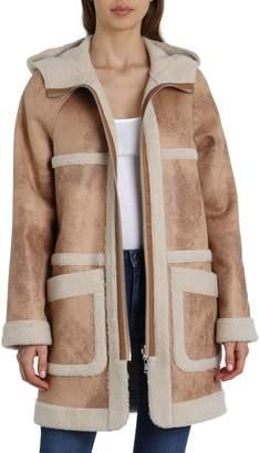 AVEC LES FILLES Reversible Faux Shearling and Faux Leather Coat