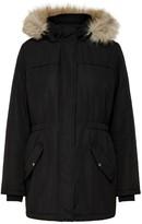 Jacqueline De Yong Mid-Long Parka with Faux Fur Hood and Pockets