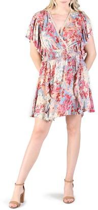 Angie Floral Smocked Waist Flutter Sleeve Dress