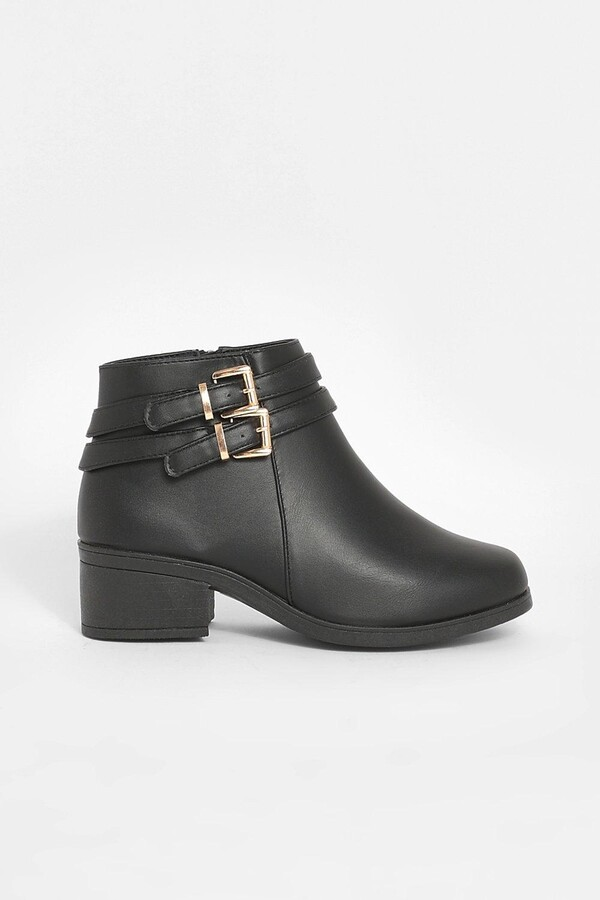 Thumbnail for your product : boohoo Wide Fit Double Buckle Chelsea Boots