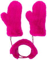 Liska - fur mittens with chain link - women - Mink Fur - One Size