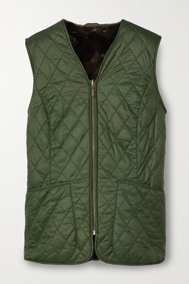 Barbour Hornbeam Reversible Quilted Shell And Faux Fur Vest - Army green