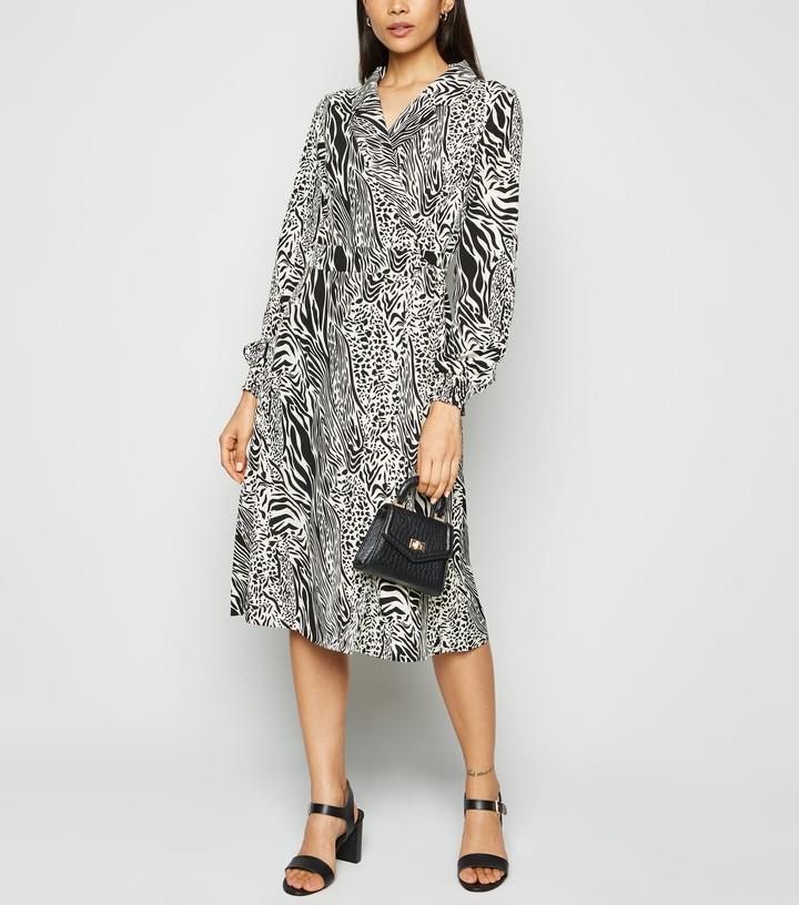 New Look Blue Vanilla Mixed Animal Print Wrap Dress