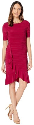 Adrianna Papell Pintucked Ruffled Matte Jersey Sheath Dress (Dark Scarlet) Women's Dress