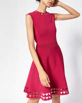 Ted Baker Cut-work Knitted Skater Dress Deep Pink
