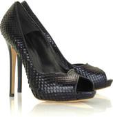 Python peep-toe pumps