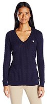 U.S. Polo Assn. Juniors Solid V-Neck Cable Knit Sweater