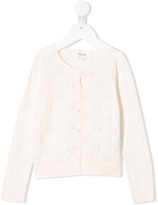 Bonpoint Buttoned Cherry Knit Cardigan