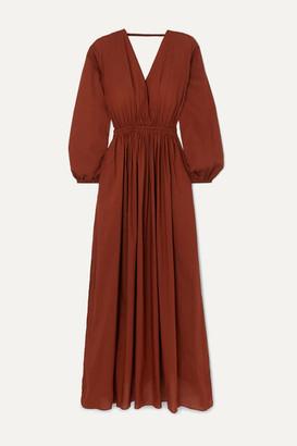 Matteau Open-back Gathered Cotton-poplin Maxi Dress - Claret